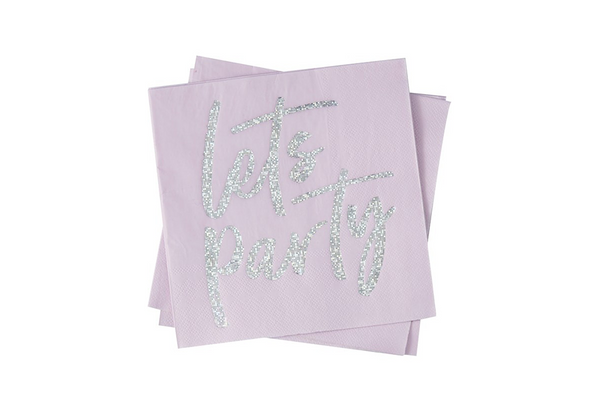 'Lets Party' Iridescent Foiled Napkins - Pop Roc Parties