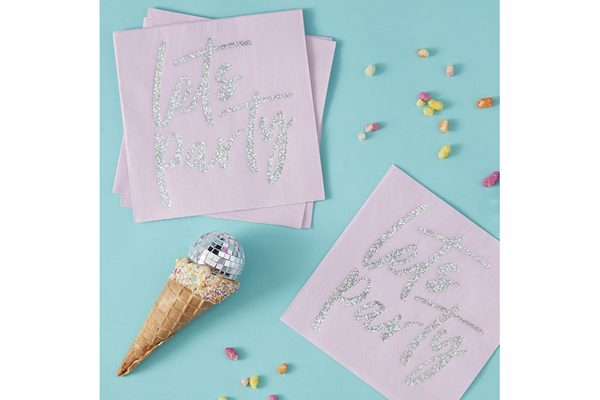 'Lets Party' Iridescent Foiled Napkins | Pop Roc Parties