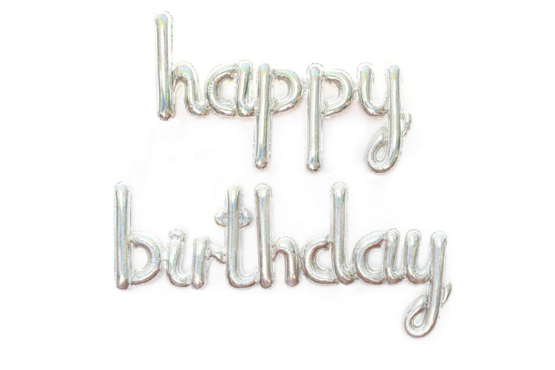 Holographic Foil HAPPY BIRTHDAY Script Balloon | Pop Roc Parties