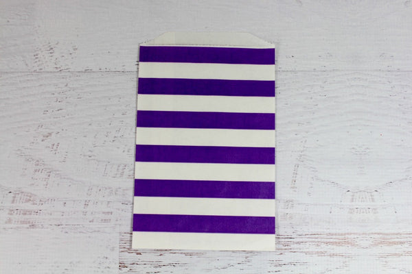 Purple Horizontal Stripe Paper Bags - Pop Roc Parties