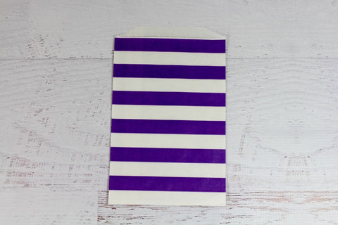 Purple Horizontal Stripe Paper Bags