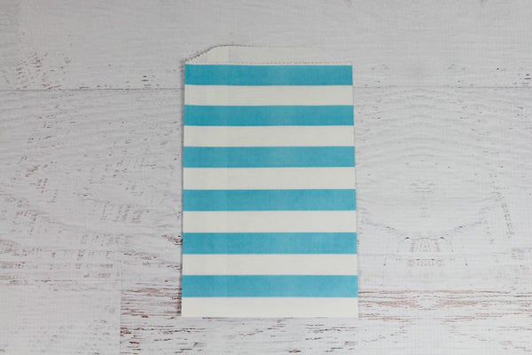 Blue Horizontal Stripe Paper Bags | Pop Roc Parties