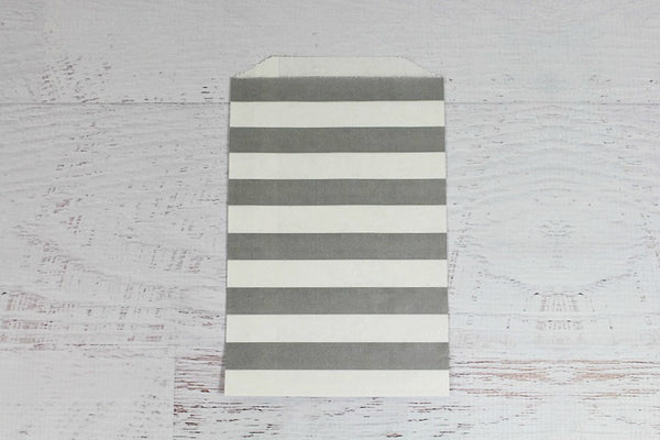 Grey Horizontal Stripe Paper Bags - Pop Roc Parties