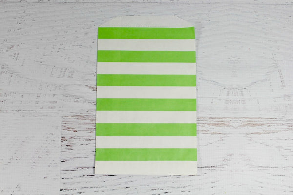 Green Horizontal Stripe Paper Bags - Pop Roc Parties