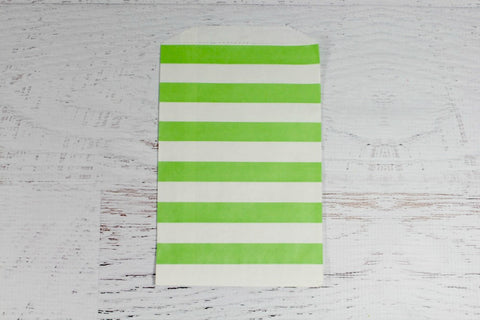 Green Horizontal Stripe Paper Bags