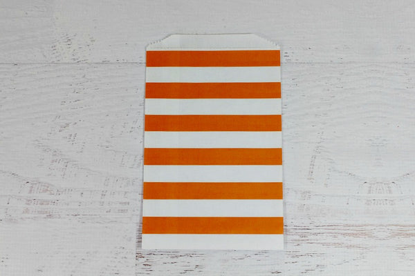 Orange Horizontal Stripe Paper Bags - Pop Roc Parties