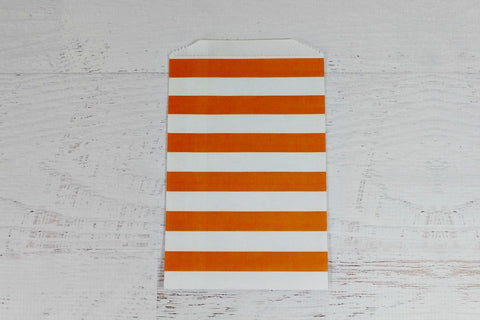 Orange Horizontal Stripe Paper Bags