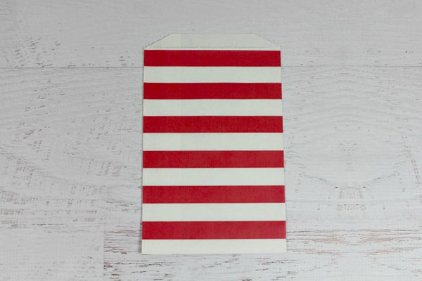 Red Horizontal Stripe Paper Bags - Pop Roc Parties