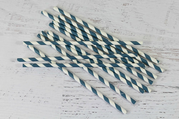 Ink Blue Stripe Paper Straws - Pop Roc Parties