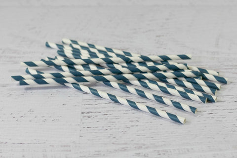 Ink Blue Stripe Paper Straws