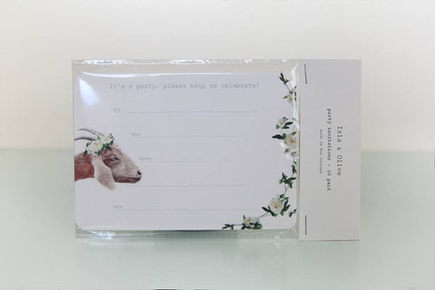 Woodland Floral Goat Invitations - Pop Roc Parties