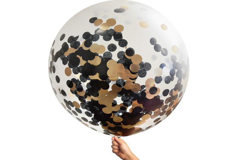Rose Gold & Black Confetti Jumbo Balloon - Pop Roc Parties