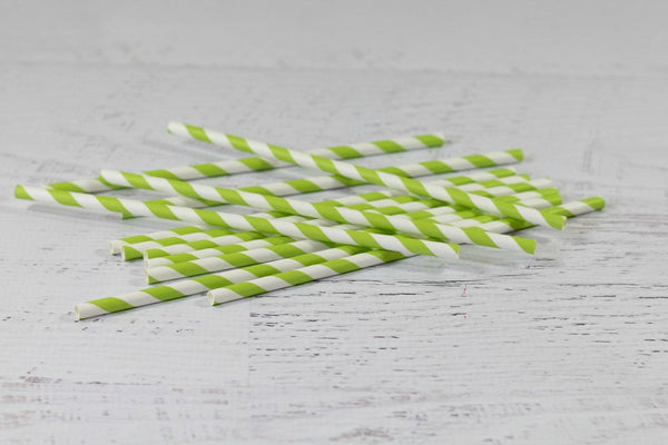 Kermit Green Stripe Paper Straws - Pop Roc Parties