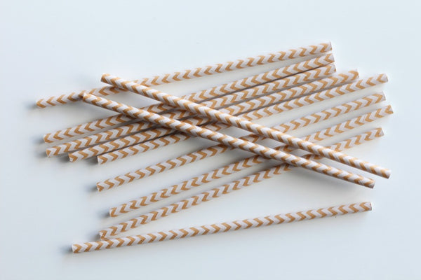 Kraft Chevron Paper Straws - Pop Roc Parties