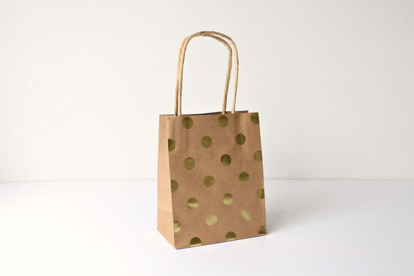 Kraft Gold Foil Polka Dot Gift Bags - Pop Roc Parties