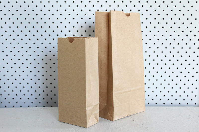 Kraft Plain Large Gusset Bags - Pop Roc Parties