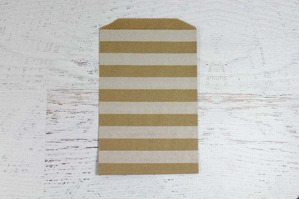 Kraft Horizontal Stripe paper Bags - Pop Roc Parties