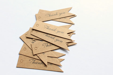 Kraft 'Thank You' Pennant Mini Gift Tags - Pop Roc Parties