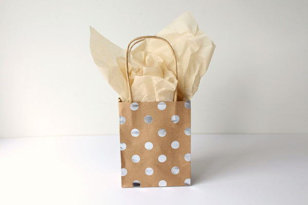 Kraft Silver Foil Polka Dot Gift Bags - Pop Roc Parties