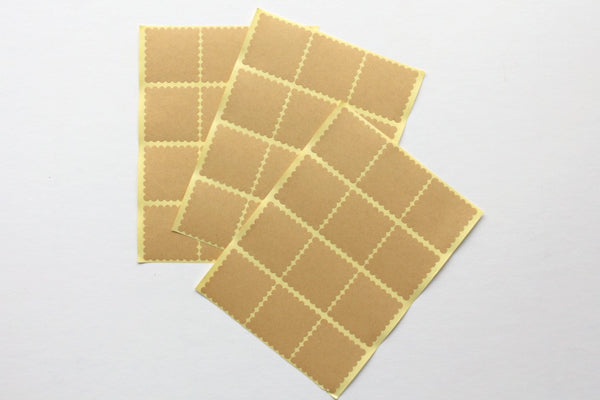 Kraft Square Scallop Stickers - Pop Roc Parties