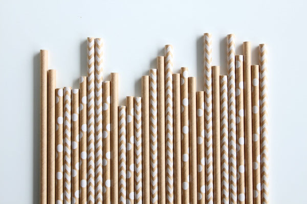Plain Kraft Paper Straws - Pop Roc Parties