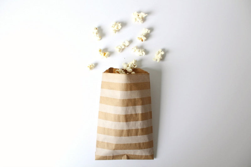 Kraft Horizontal Stripe paper Bags | Pop Roc Parties
