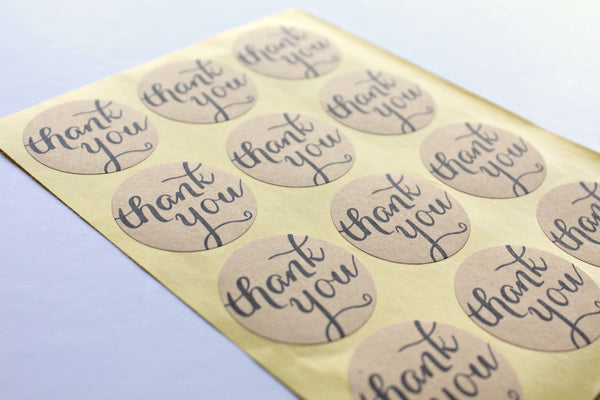 Kraft 'Thank You' Round Stickers - Pop Roc Parties