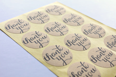Kraft 'Thank You' Round Stickers