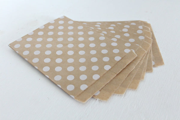 Kraft Polka Dot Favor Bags - Pop Roc Parties
