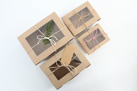 Kraft Large Window Favor Boxes