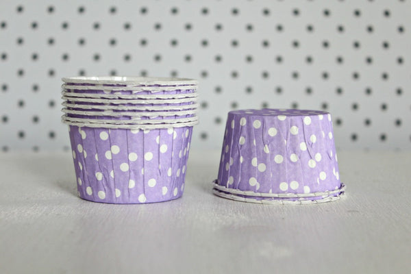 Lavender Polka Dot Cupcake Cups - Pop Roc Parties