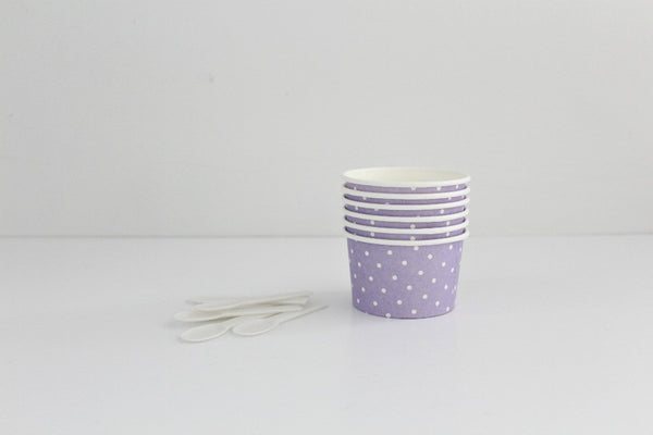 Lavender Polka Dot Ice Cream Cup Set - Pop Roc Parties
