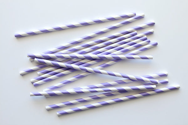 Lavender Stripe Paper Straws | Pop Roc Parties