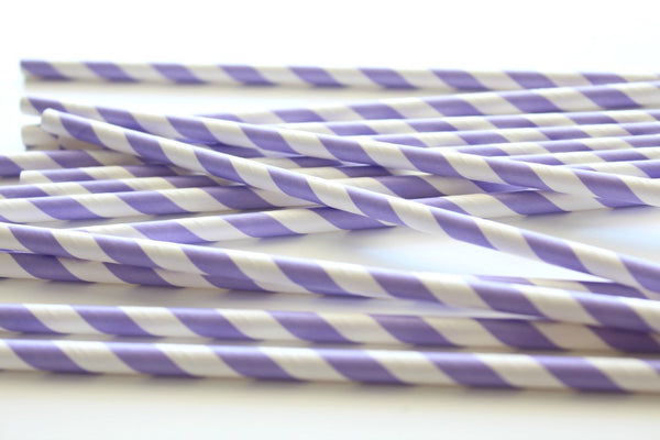 Lavender Stripe Paper Straws - Pop Roc Parties