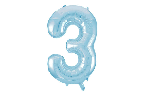 Light Blue Foil Number '3' Balloon | Pop Roc Parties