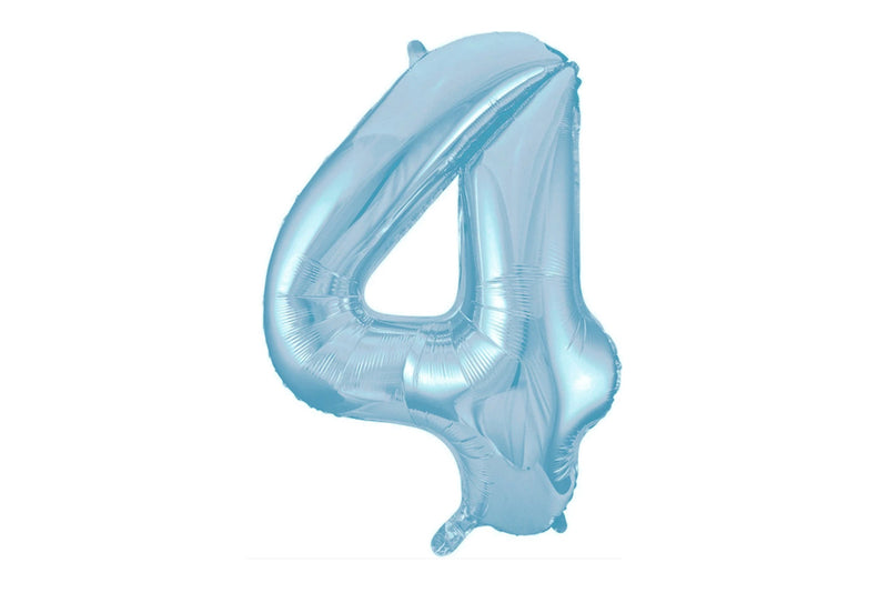 Light Blue Foil Number '4' Balloon | Pop Roc Parties