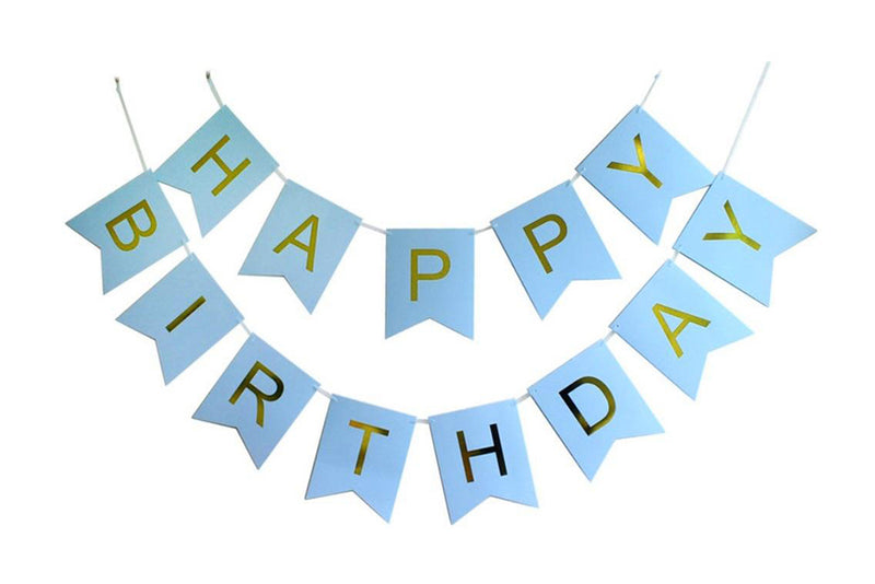 Light Blue & Gold 'Happy Birthday' Bunting | Pop Roc Parties