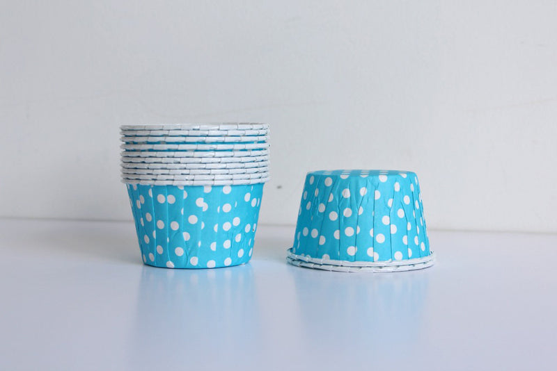 Light Blue Mini Polka Dot Cupcake Cups | Pop Roc Parties