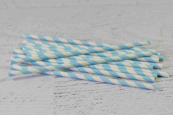 Light Blue Stripe Paper Straws | Pop Roc Parties