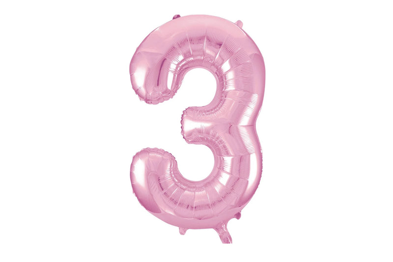 Light Pink Foil Number '3' Balloon | Pop Roc Parties