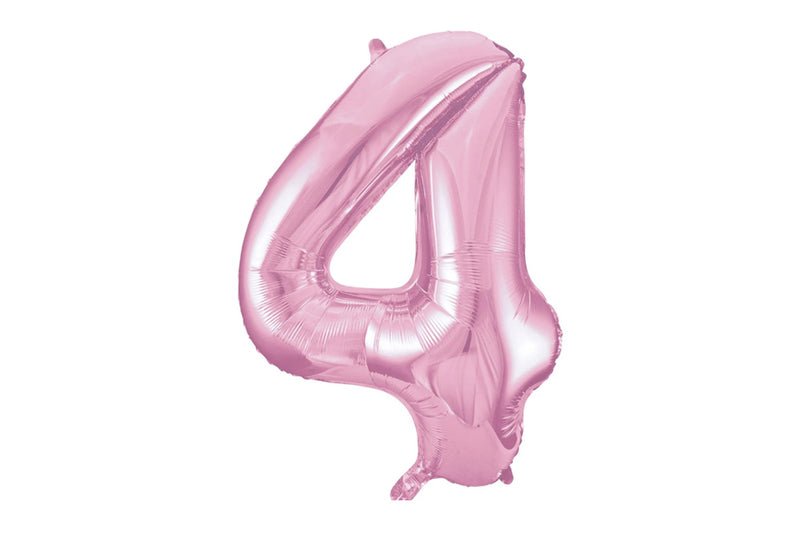 Light Pink Foil Number '4' Balloon | Pop Roc Parties