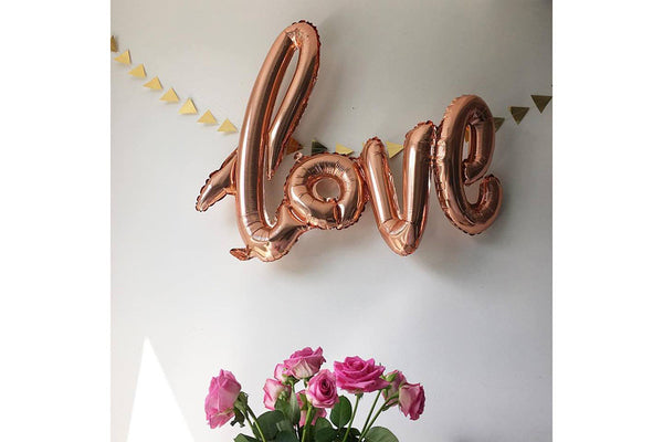 Metallic Rose Gold Foil LOVE Script Balloon | Pop Roc Parties