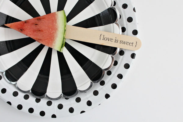 '{love is sweet}' Stamped Wooden Ice Block Sticks - Pop Roc Parties