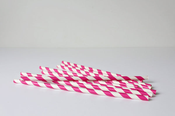 Magenta Pink Stripe Paper Straws - Pop Roc Parties