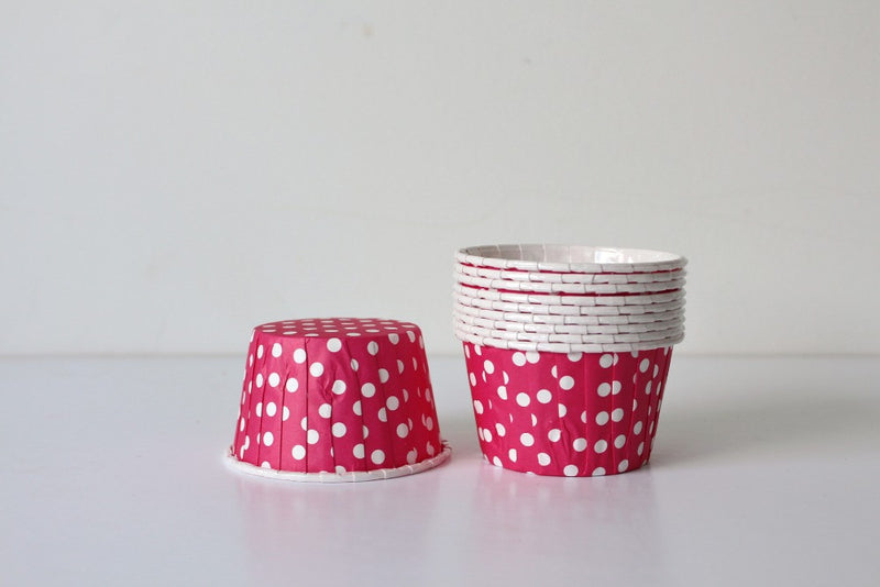 Magenta Polka Dot Cupcake Cups - Pop Roc Parties