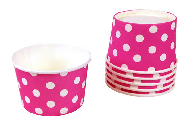 Magenta Polka Dot Ice Cream Cups | Pop Roc Parties