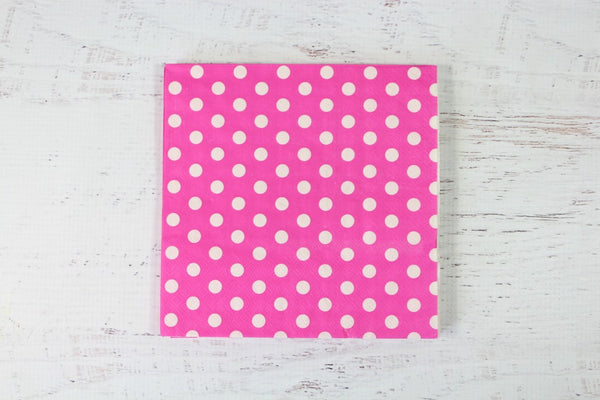 Magenta Polka Dot Napkins - Pop Roc Parties