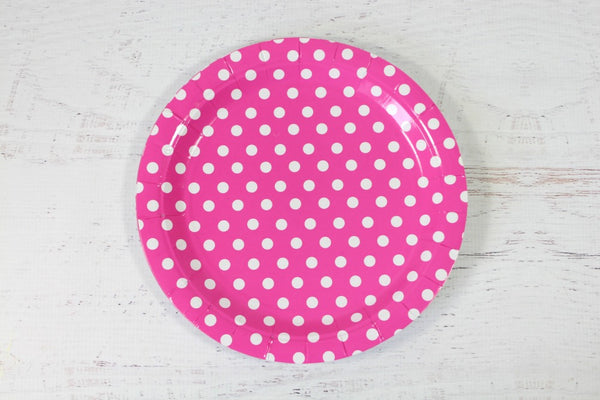 Magenta Polka Dot Paper Plates | Pop Roc Parties