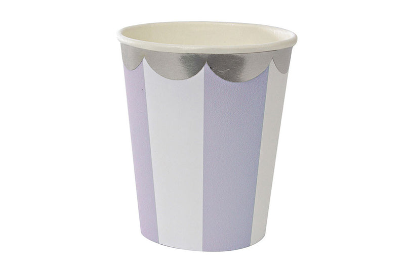 Toot Sweet Lavender Stripe Cups - Pop Roc Parties