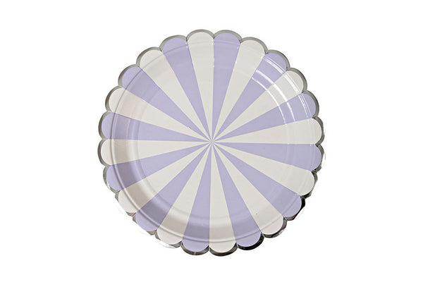 Toot Sweet Lavender Stripe Plates - Pop Roc Parties